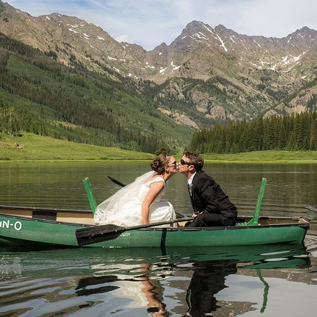 One of my favorite days, with two of my favorite people. Ray and I grew up in Connecticut together. I am so grateful that I could be a part of this day... I'm also grateful to my friend/photographer/kayaker/badass @charles_townsend_photo for standing up and balancing in a canoe to capture this kiss.  @pineyriverranch#carolinecolvinphotography #weddingphotography #destinationwedding  #chasinglight #coloradophotographer #rockymountainbridecolorodo #weddingadventure #mountainwedding #marriedoutside #destinationweddingphotography #coloradoweddings #coloradobride #weddingseason #realwedding