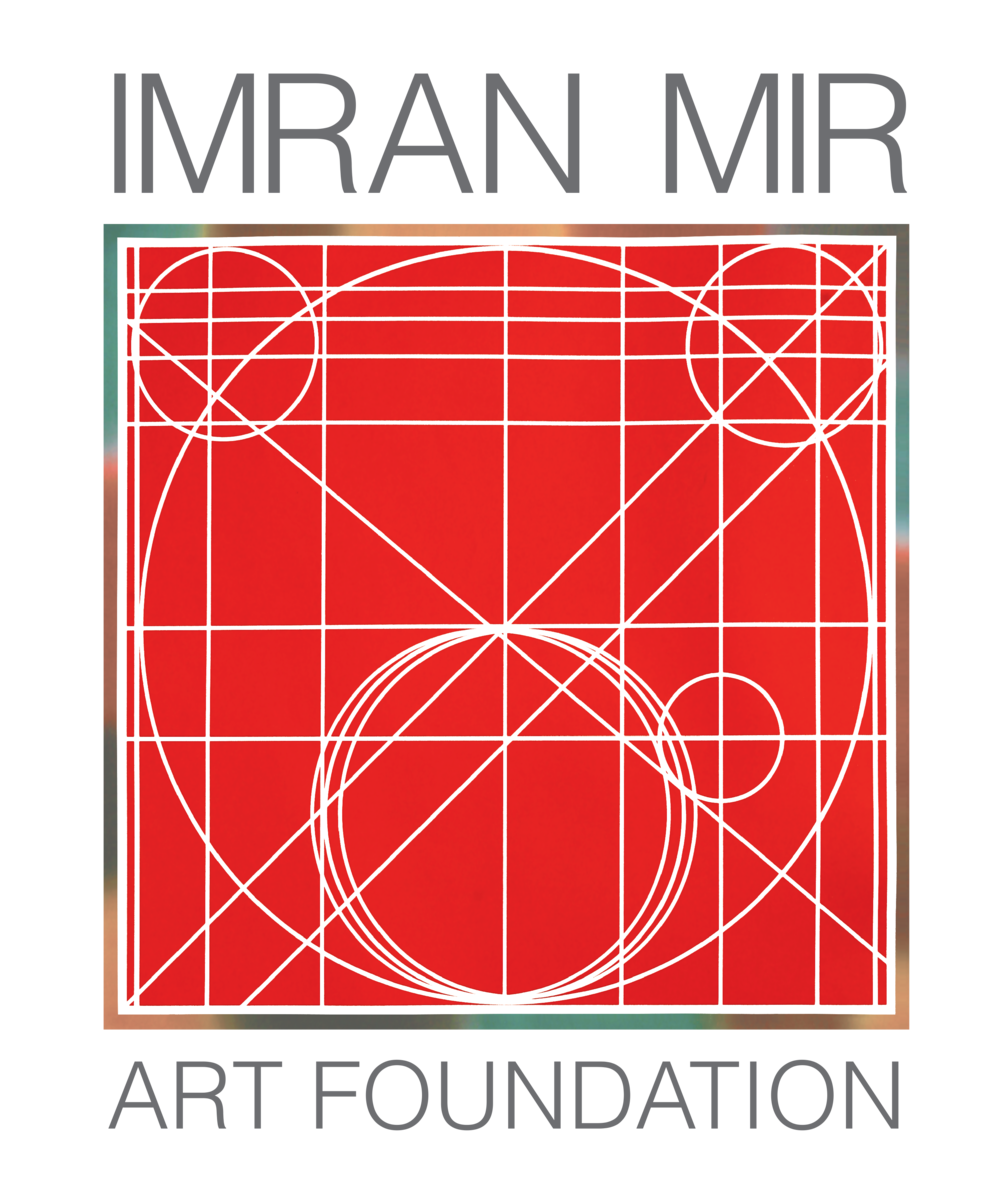 The Imran Mir Art Foundation Logo is a composition of a painting from Imran Mir's exhibtion the 'Sixth Paper on Modern Art' held at the Haroon House Gallery in 1985