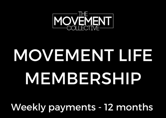 $45 Weekly - Movement Life - 12 month membership✔️BEST VALUE - SAVE $500 per year✔️ Access to open gym✔️ Unlimited classes✔️ Monthly testing sessions✔️ High Level coaching✔️ 12 month contracted membership✔️ Access to Members page/ Events/workshops