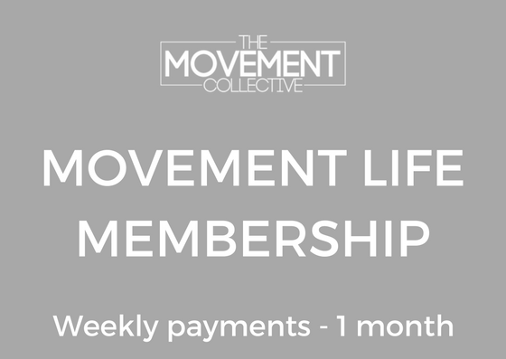 $55 Weekly - Movement Life - 1 month membership✔️ Access to open gym✔️ Unlimited classes✔️ Monthly testing sessions✔️ High Level coaching✔️ 1 month contracted membership✔️ Access to Members page/ Events/workshops