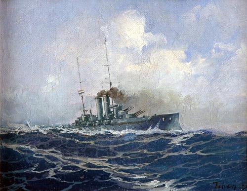 """""""Savaş Gemisi"""", 32.5x43 cm, tuval üzerine yağlıboya,                Fotoğraf: © Antik A.Ş. arşivi."""