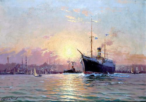 """""""Vapurlu İstanbul Manzarası"""", 50x69 cm, tuval üzerine yağlıboya. Fotoğraf: © Antik A.Ş. arşivi."""