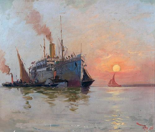 """""""Günbatımında Gemi"""", 44x52 cm, duralit üzerine yağlıboya,        Fotoğraf: © Antik A.Ş. arşivi."""