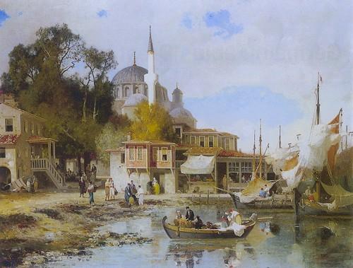 """Resim 2) Fabius Brest, """"Boğaz Kıyılarında"""", tuval üzerine yağlıboya, 89x116 cm, özel koleksiyon."""