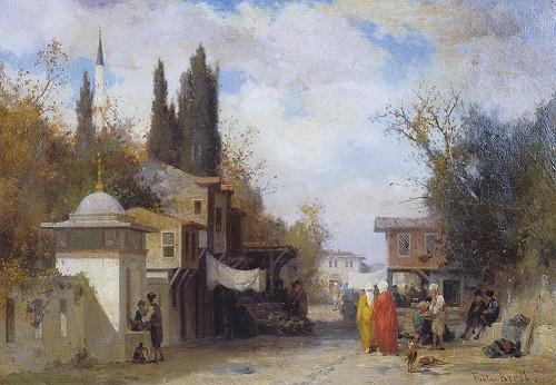 """Resim 9) Fabius Brest, """"Üsküdar"""", tuval üzerine yağlıboya, 34x49 cm, (c) Topkapı Sarayı Müzesi, İstanbul."""