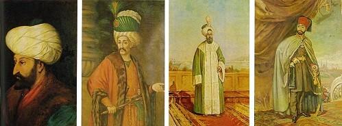Halil Paşa'dan padişah portreleri: Fatih Sultan Mehmet, Yavuz Sultan Selim, Sultan III. Selim, Sultan II. Mahmut