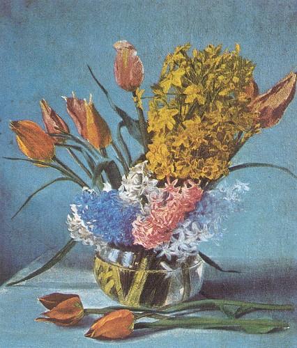 Lale ve Sümbüller, tuval üzerine yağlı boya, 55x46 cm (İstanbul Resim ve Heykel Müzesi)