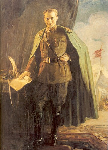 Mihri Rasim tarafından yapılan ve yurtdışında bulunan Atatürk'ün Mareşal üniformasıyla resmi.