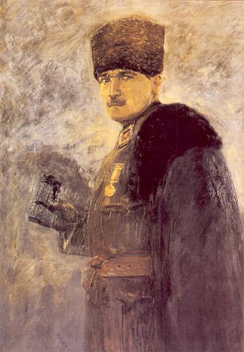 Mustafa Kemal Paşa, 1915 147x97 cm, tuval üzerine yağlıboya, (İstanbul Resim ve Heykel Müzesi).