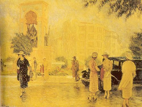 Taksim Meydanı, 1935 3x93 cm, tuval üzerine yağlıboya (Özel Koleksiyon).