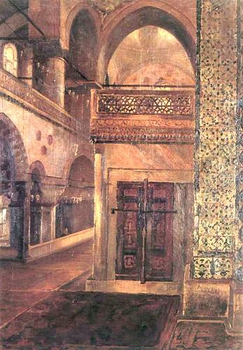 Yeni Cami İçi. Claude Farrere'e armağan edilen tablo (Taha Toros Koleksiyonu).