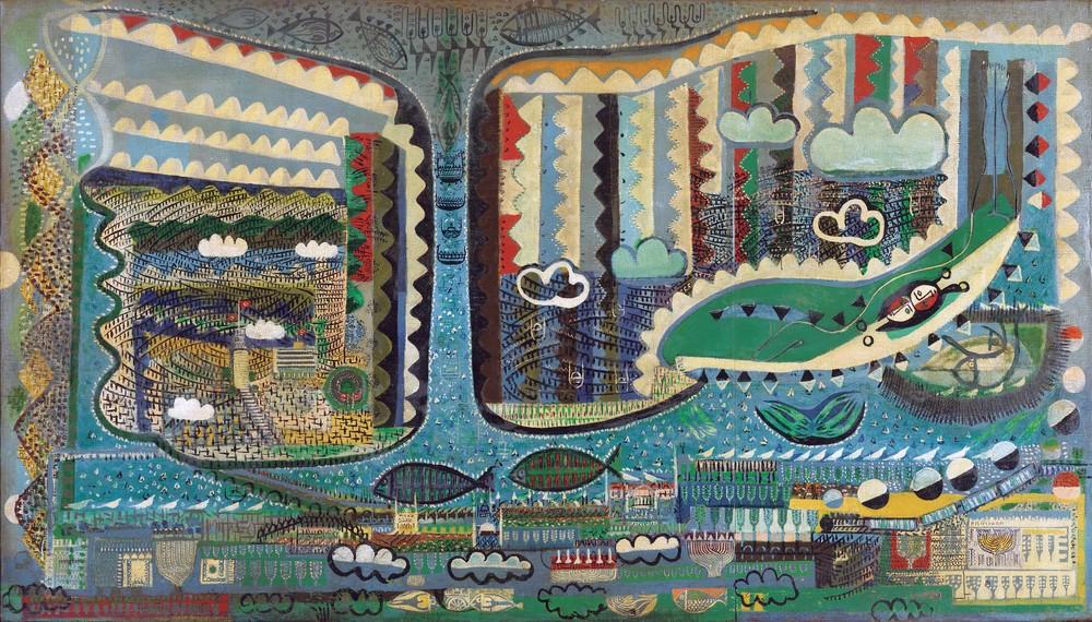 """Bedri Rahmi Eyüboğlu, 1955, """"İstanbul"""", tuval üzerine yağlıboya (ahşaba marufle), 191x335 cm, imzalı, Eyüboğlu Aile Koleksiyonu."""