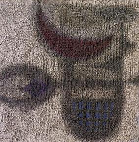 """Bedri Rahmi Eyüboğlu, 1966, """"Beyaz Nakış Gemisi"""", duralit üzerine akrilik, 121x122 cm, MSGSÜ İstanbul Resim Heykel Müzesi Koleksiyonu."""