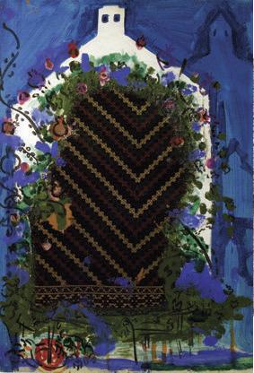 """Bedri Rahmi Eyüboğlu, """"Bodrum"""", kontrplak üzerine karışık teknik, 100x70 cm, SÜ Sakıp Sabancı Müzesi Koleksiyonu."""