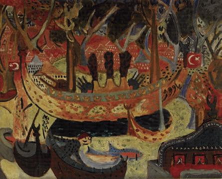 """Bedri Rahmi Eyüboğlu, """"Yavuz Geliyor Yavuz"""", tuval üzerine yağlıboya, 115x145 cm, Mehmet Hamdi Eyüboğlu Koleksiyonu."""
