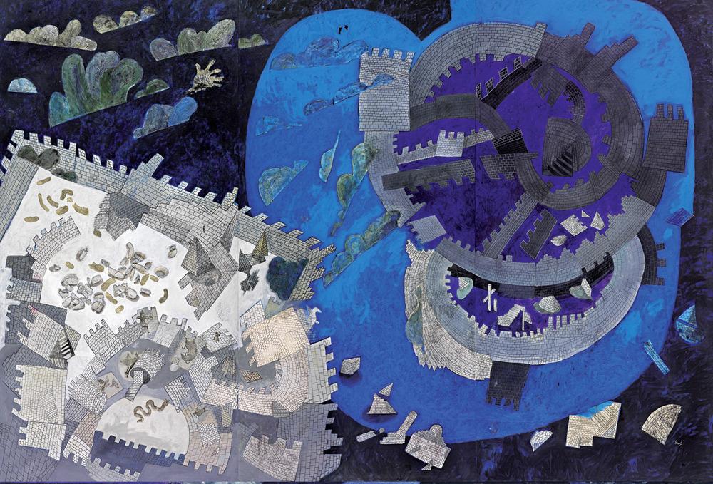 """Resim 38 -Erol Akyavaş, """"Kuşatma"""", 1982, tuval üzerine karışık teknik, 266x385 cm., (Nezih Barut koleksiyonu)."""