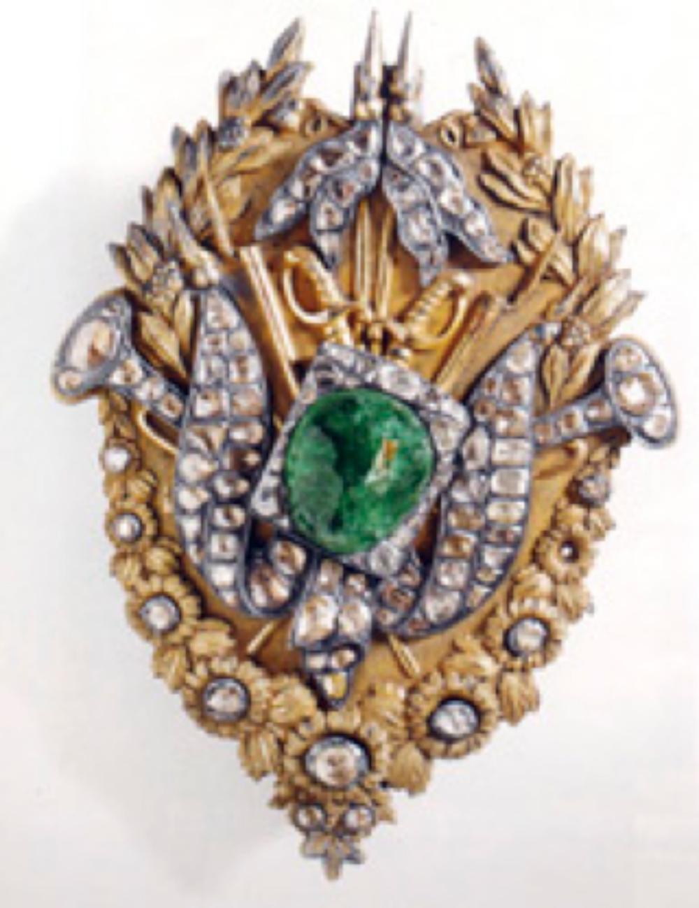 At Sorgucu Yuvaları, Osmanlı, geç 18.-erken 19.yüzyıl, altın yaldızlı gümüş, elmas, zümrüt; 16x12 cm (T.S.M. 2/3932, 34)