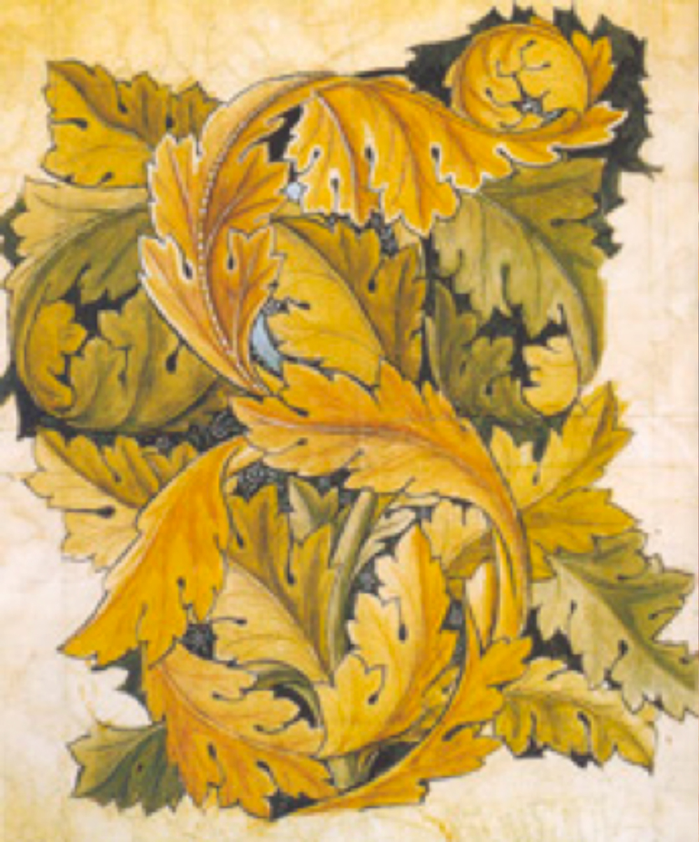 Tasarımı 1874 yılında William Morris tarafından yapılan akantus desenli duvar kağıdı örneği.
