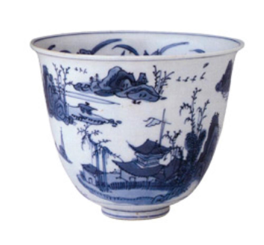 Mavi-beyaz fincan, Jiajing Dönemi (1522-66) İçindeki madalyonda bir manzara, dışında üzerinde pagoda ve pavyonların bulunduğu adacıklar kayalık burunlar