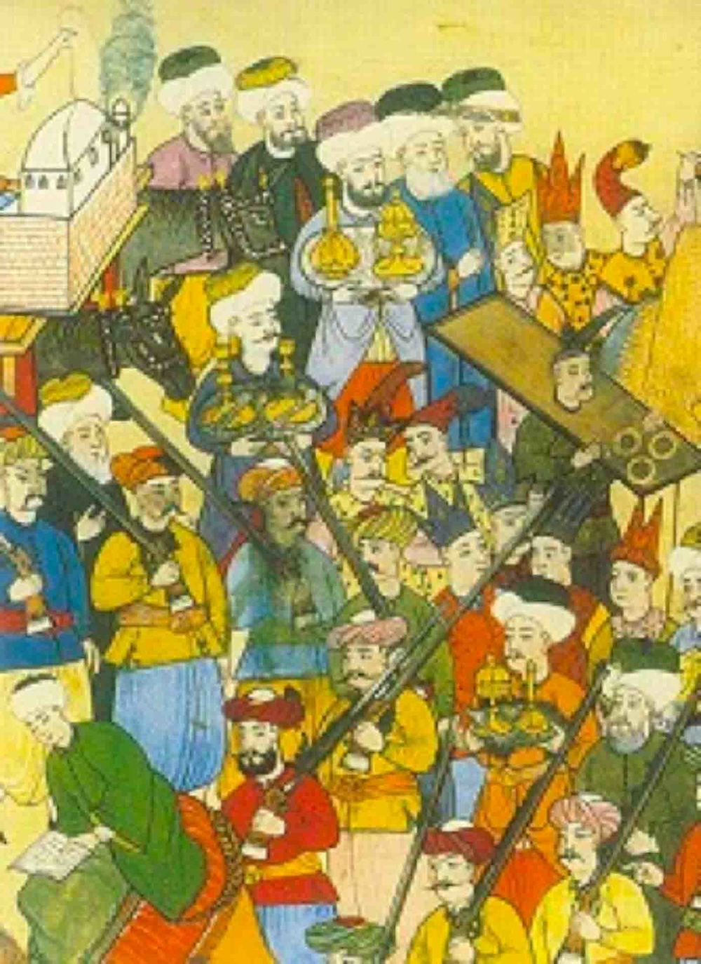 """LEVNİ MİNYATÜRLERİNDE BUHURDAN&GÜLABDAN TAŞIYANLAR Sultan III. Ahmed'in (1703-1730) dört şehzadesinin 1720 yılında yapılan sünnet düğününü anlatan """"Surname-i Vehbi"""" adlı elyazması eserdeki Levni (Öl.1732) minyatürlerinde, esnaf alayında bulunan kimi kişilerin ellerinde taşıdıkları buhurdan ve gülabdanlar, görüldüğü gibi bir tepsi içinde """"takım olarak"""" yer almaktadır."""