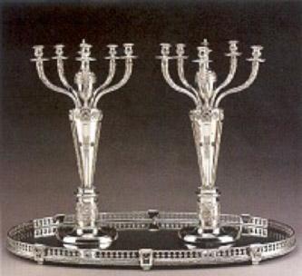 Avrupa gümüş, beş kollu şamdanlar, PS yapımcı damgalı, 1840 İtalya. 62,8 cm yüksekliğinde.
