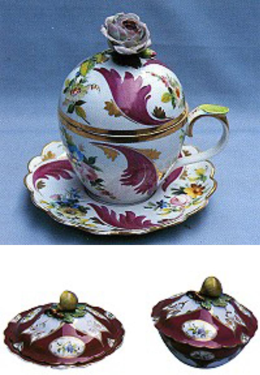 T.S.M. Env. No: 34/648 Eser-i İstanbul Porselen Şekerlik T.S.M. Env. No: 655 Kapaklı Sahanlar. Kapak tepelikleri incir şeklindedir.