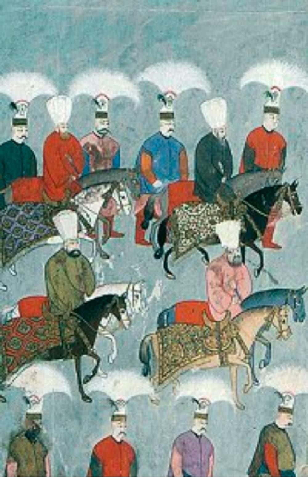 """1729 yılında yapılan """"Surname-i Vekbi""""den, sultana ait atlar ve görevli giyisilerinden bazı örnekler"""