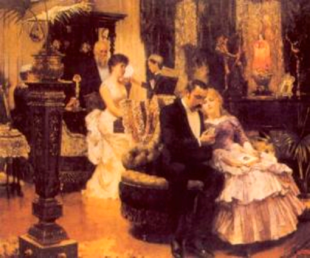 "Joseph Solomon R.A. ""Conversation Piece"" Sohbet Koltuğu, 1884,tual üzeri yağlıboya, Leighton House, Londra."