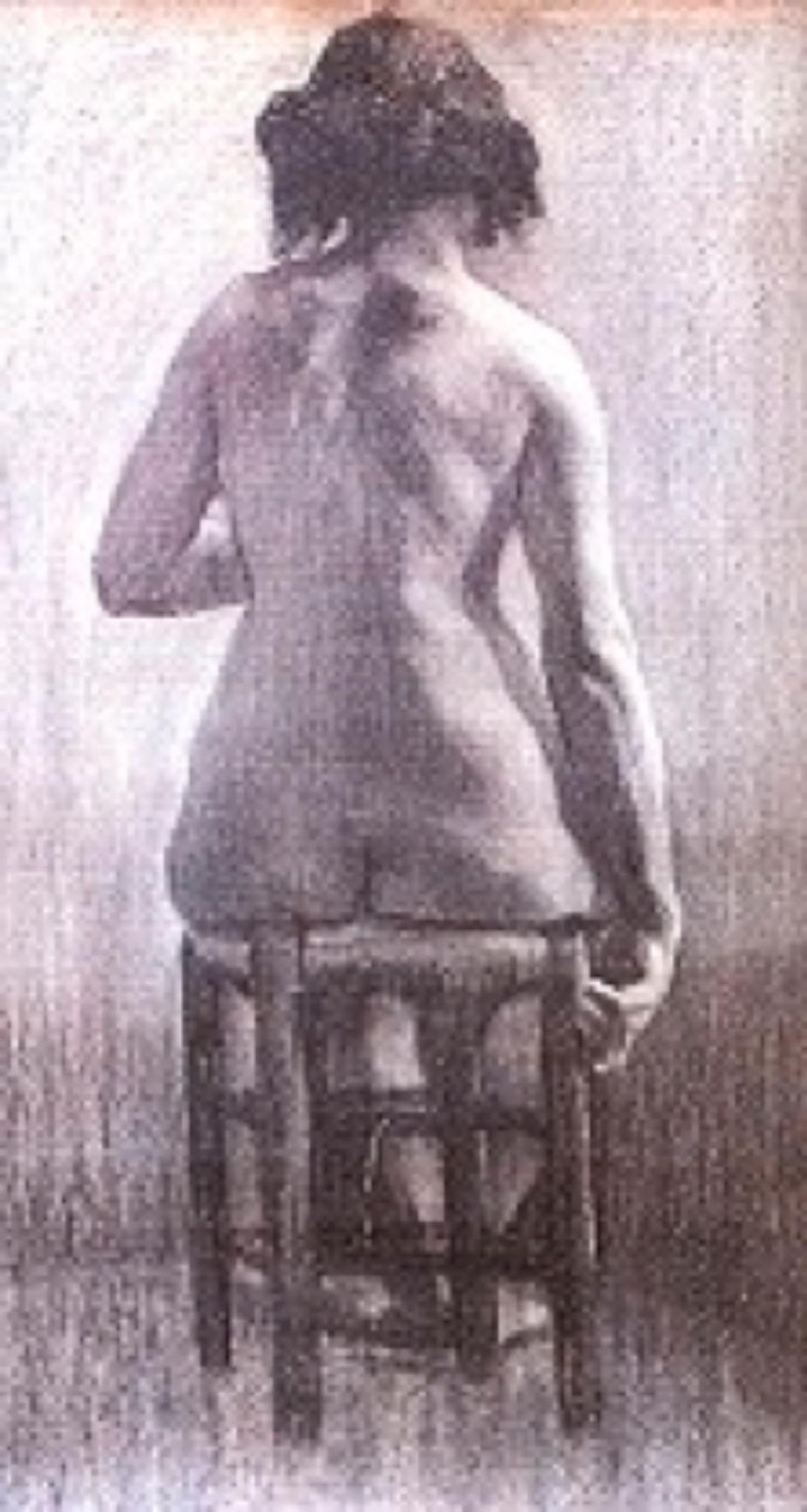 Nü, desen kağıt üzerine füzen Cormon Atölyesi, 65x50 cm (Edip Onat Koleksiyonu)