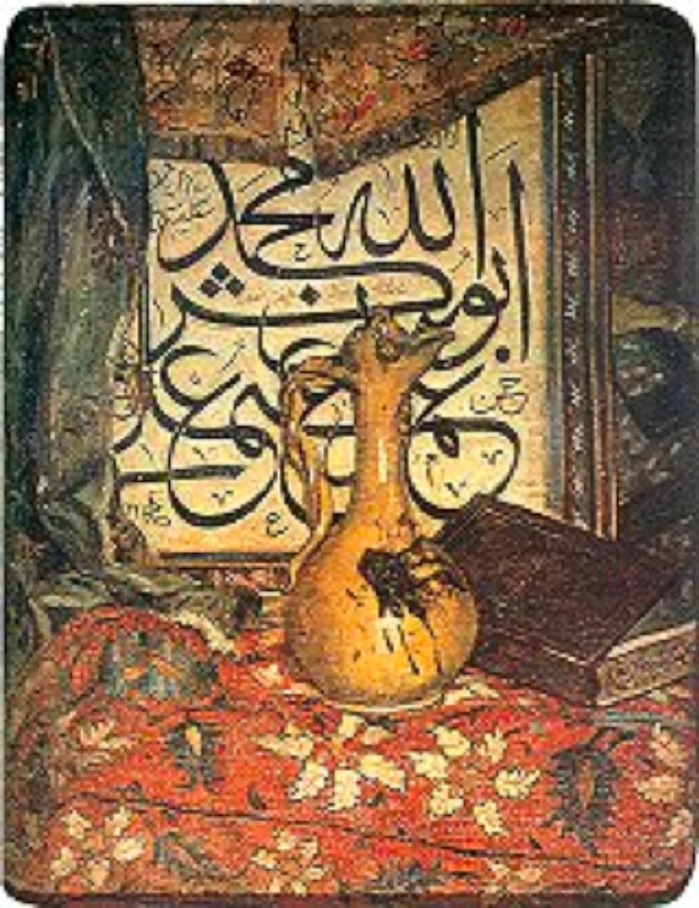 Kaligrafik Kompozisyon, 1945 Tual üzerine yağlıboya - 87 x 69 cm (Özel Koleksiyon)