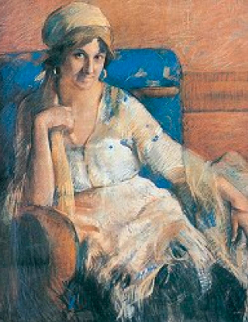Güzide Duran'ın Portresi, 1921 Tual üzerine pastel - 107 x 87 cm (Antik A.Ş. Arşivi)