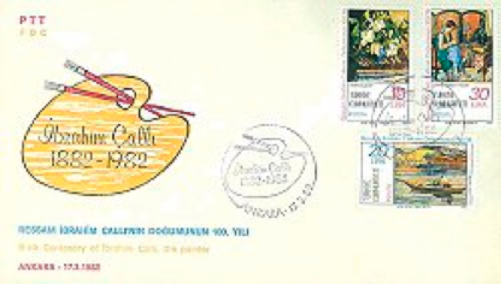 PTT'nin İbrahim Çallı'nın doğumunun 100. yılı dolayısıyla 1982'de çıkardığı özel zarf ve pulları