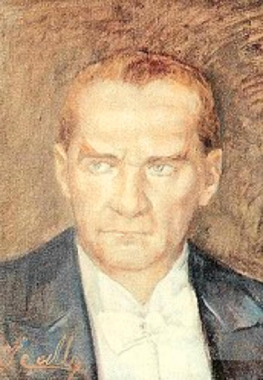 Atatürk portresi. Atatürk'ün 110. doğum yıldönümü nedeniyle kart olarak basılmıştır. (Erol Abiral koleksiyonundan)