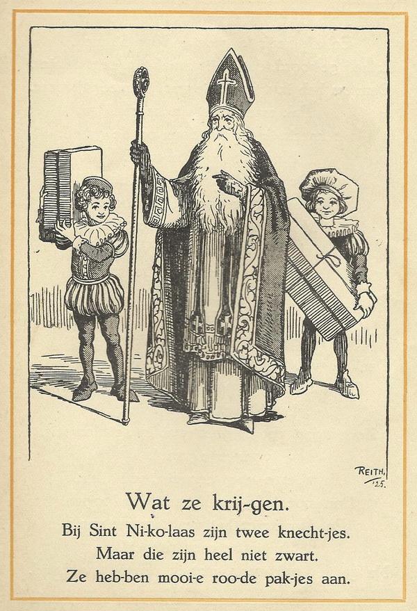 Sinterklaas en twee witte Pieten 1925