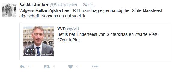 Tweet over Halbe Zijlstra en de roetveegpiet van RTL , Het Citaat