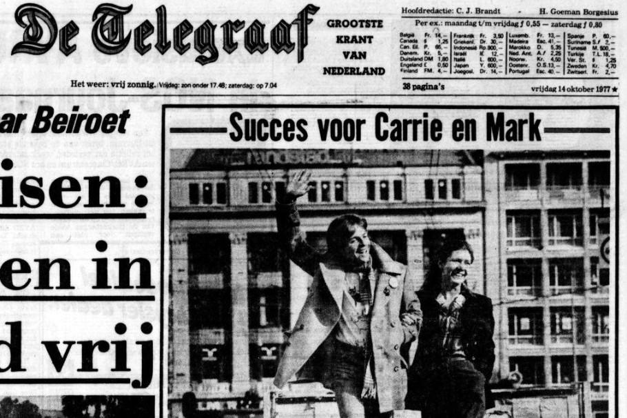 Voorpagina van    De Telegraaf   , 14 oktober 1977. Vrijwel geen Nederlander heeft de film gezien, maar Carrie Fischer en Mark Hamill worden bij de voornaam genoemd!