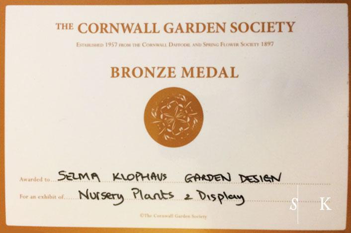 Cornwall Garden Designer Nursery Medal