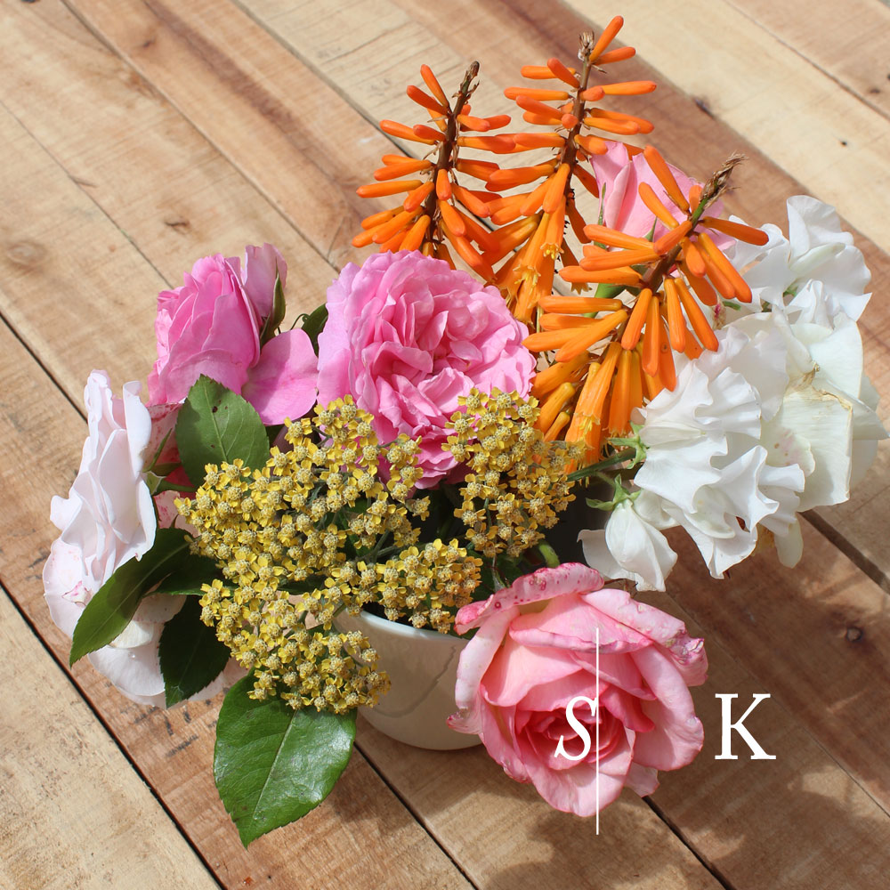 Kniphofia, roses and sweet pea