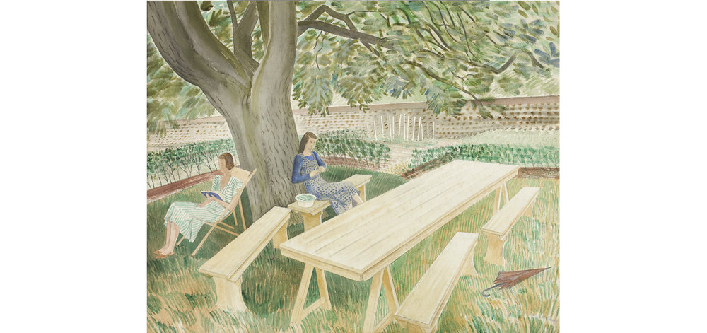 image: Eric Ravilious,  Two Women in a Garden , 1939. Fry Art Gallery