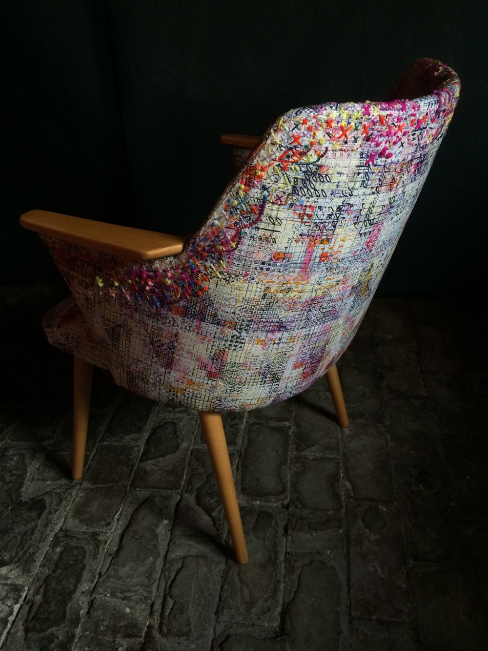 Jewel like hand-embroidered colours in the Pixel Armchair with Rachel Parker