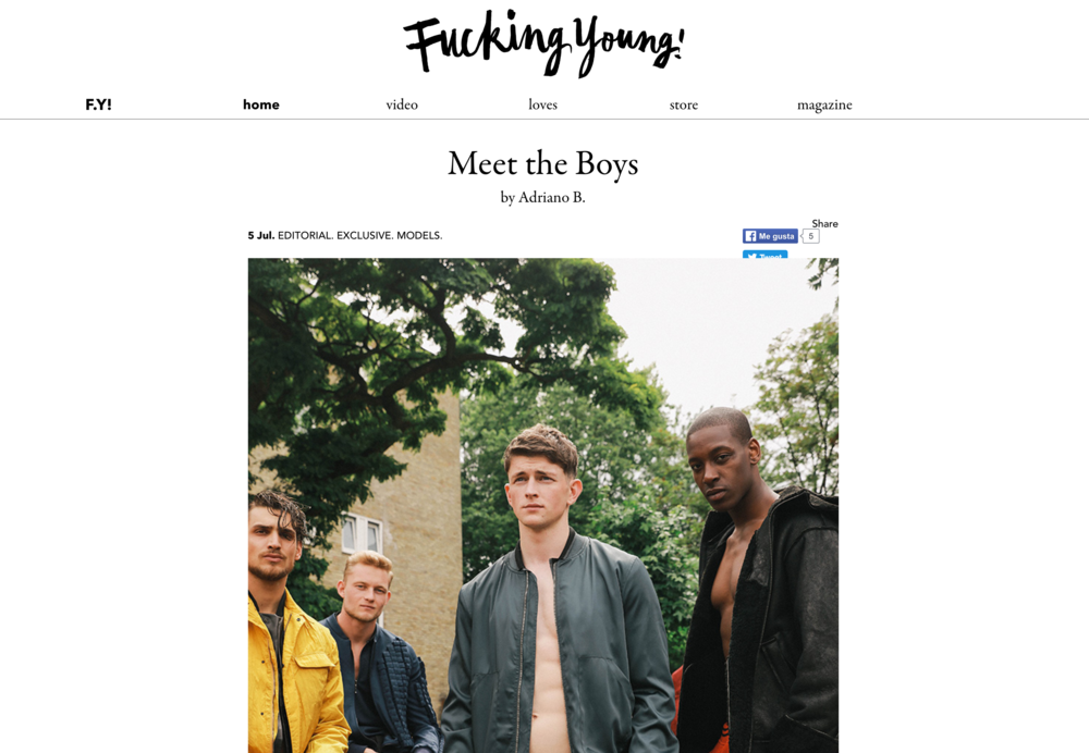 FUCKING YOUNG!: Meet the Boys editorial for Wilhelmina London.