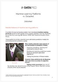 Machine learning platforms vs. Datapred