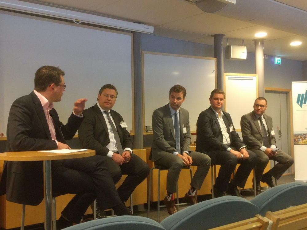 From left: Michael MacCallum (Deloitte), Carl Hugo Parment (White & Case), Oskar Ekenger (SEB), Todor Panayotov and Jeremy Lipshitz (PwC)