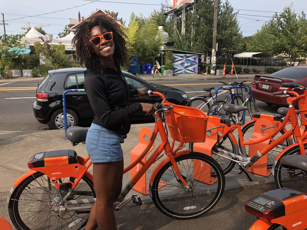Most cities now have a bike-sharing program. It's cheap, a fun activity and a great workout! This was me in Portland using their bikes.