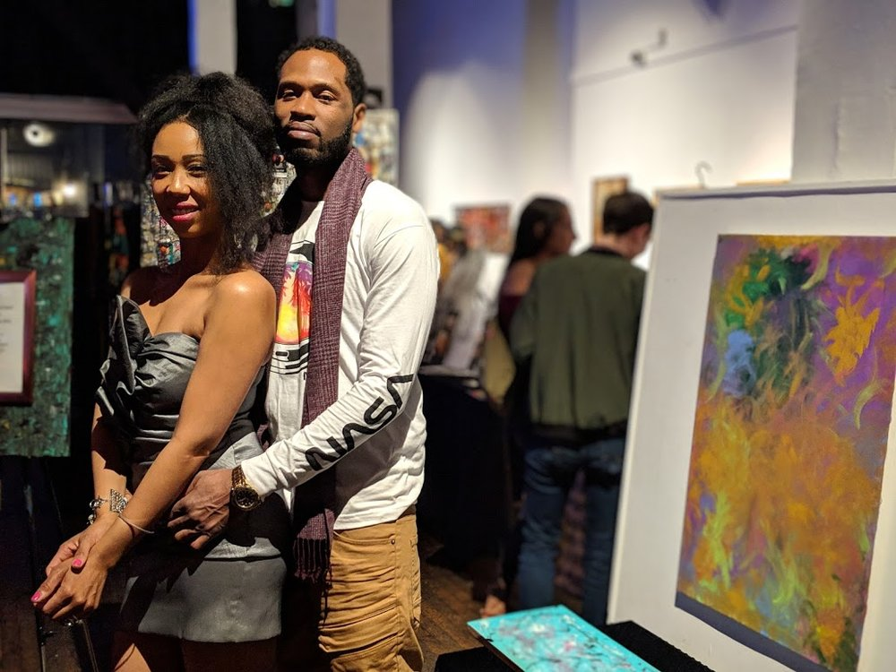Vanita and her husband at her art showing at 111 Minna Gallery in San Francisco.