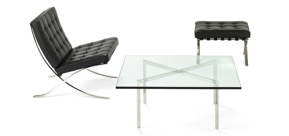 DesignerstolenBarcelona Chair, designet av Ludwig Mies van der Roeh og Lilly Reich i 1929.