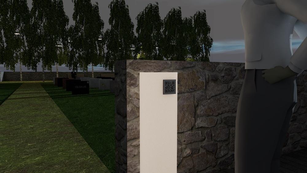 Søyle utenfor en gravlundens innganger, inviterer passerende inn med QR-kode. Enkelte graver har QR-kode på seg som forteller om den avdødes historie (etter ønske selvsagt).