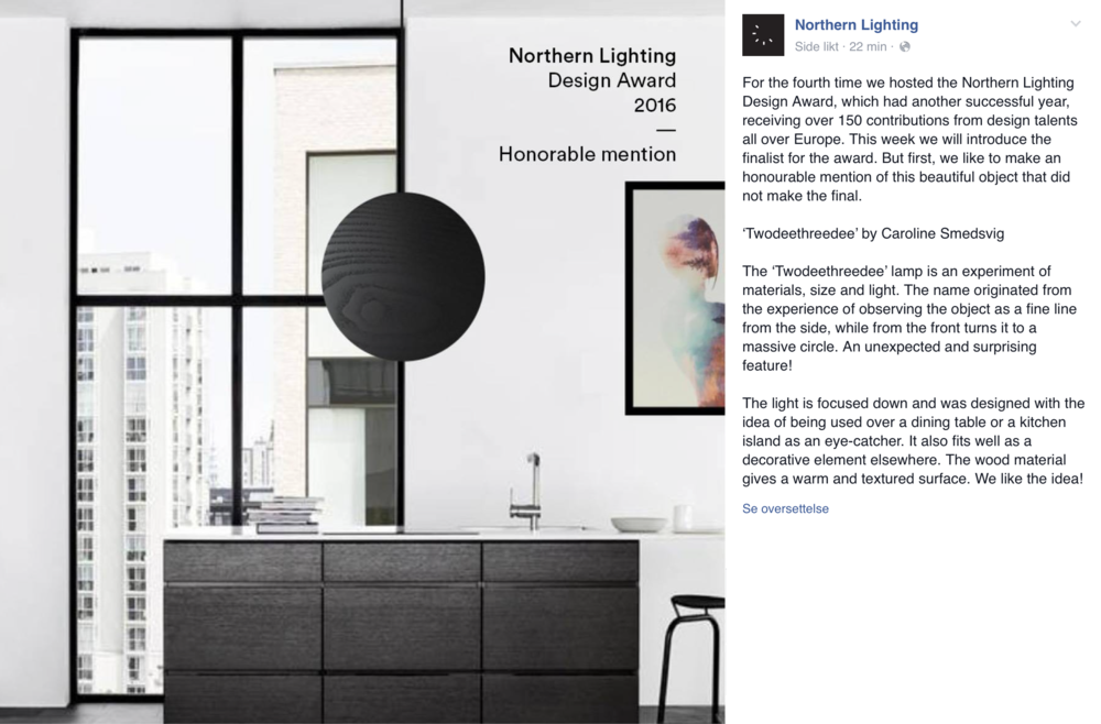 Fin omtale fra Northern Lighting på Facebook