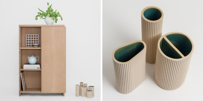 Hallgeir Homstvedt & Jonah Takagi worked together and came up with to very different products. A cabinet and a series of vessels. Photo: nytimes