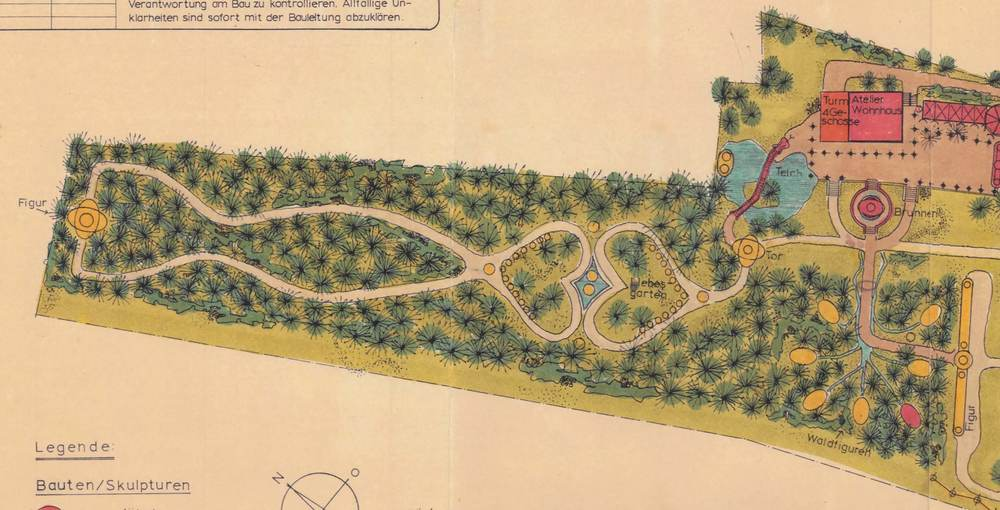 Bruno Weber's Weinrebenpark in Spreitenbach,Richtplan und Projekt 1977 gezeichnet von Charles v. Büren, Architekt (Detailansicht mit Liebesgarten)